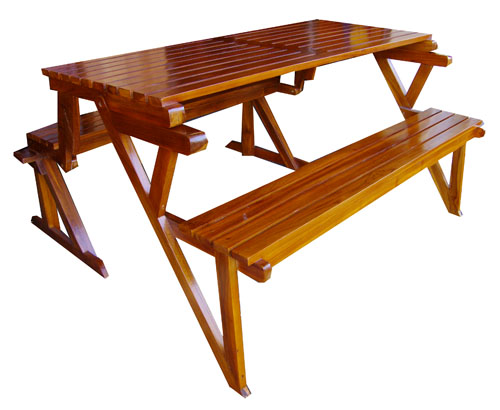 Foldout Teak Bench/Picnic Table 1016-picnic, table, teak, wood, wooden, furniture, bench, benches, finished