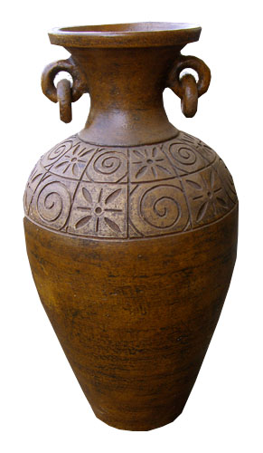 Large Venitian Style Carved Vase 1019-tall, large, brown, carved, venitian, pottery, planter, vase, urn, decor