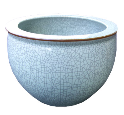 Blue Green Crackle Pot 1021-blue, green, bluegreen, crackle, pot, pottery, planter