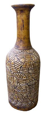 Large Fish Vase 1022-brown, fish, pottery, vase