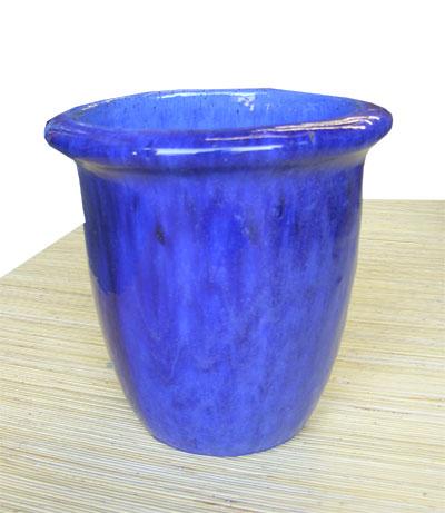 Glazed Blue Planter 1027-blue, glazed, pot, pottery, ceramic, planter
