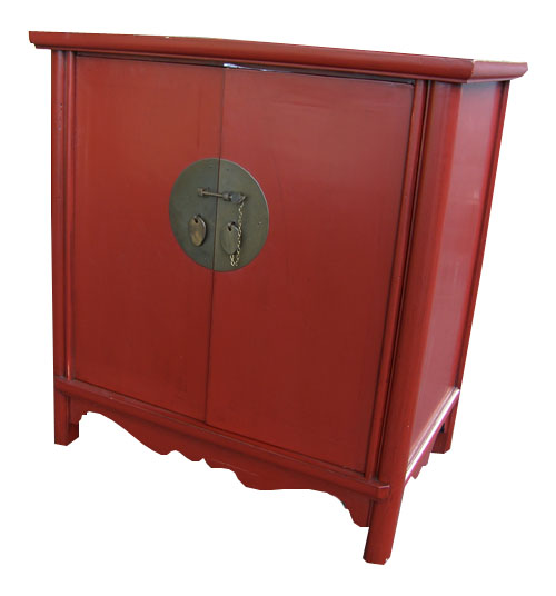 Chinese Red Lacquered Cabinet 1030-chinese, oriental, asian, red, lacquer, lacquered, cabinet, table