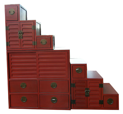 Red Step Tansu 1032-red, brown, black, chinese, asian, oriental, step, tansu, steps, stair, stairs, shelf, shelves, display, case