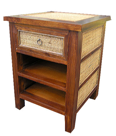 Teak And Rattan Side Table 1034 Teak, Rattan, Tropical, Side, Table