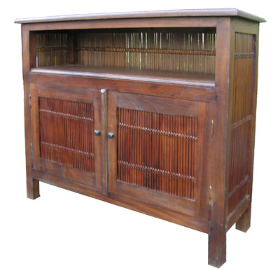 Bamboo and Teak Hutch Cabinet 1035-dark, brown, bamboo, teak, hutch, cabinet, table, entertainment, center, tropical, Hawaiian, finished, stained