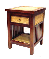 Teak and Rattan Side Table 1042-teak, rattan, tropical, table, side, night, stand, bedside, wood, wooden