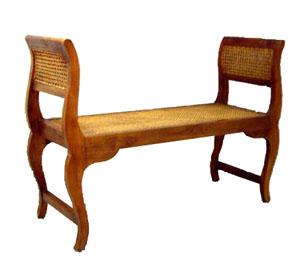 Teak and Rattan Bench 1044-teak, rattan, wood, wooden, tropical, bench