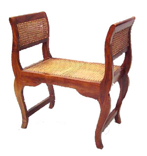 Teak and Rattan Bench Seat 1045-teak, rattan, bench, seat, chair, tropical, wood, wooden