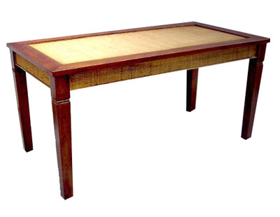 Teak and Rattan Table 1046-teak, rattan, dining, room, table, wood, wooden, tropical