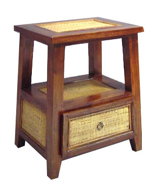 Teak and Rattan Side Table 1048-teak, rattan, side, table, night, stand, nightstand, bedside