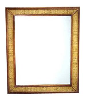 Teak and Rattan Mirror 1050-teak, rattan, mirror, tropical, wooden