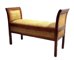 Teak and Rattan Bench 1053-teak, rattan, bench, seat, chair, wood, wooden, tropical