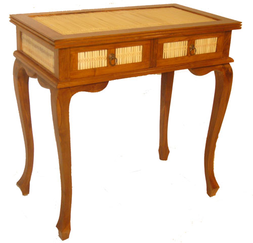 Bamboo and Teak Desk 1060-teak, wood, wooden, desk, bamboo, tropical