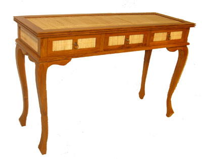 Bamboo and Teak Three Drawer Desk 1065-