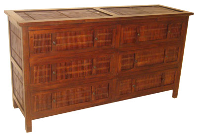Dark Bamboo and Teak Dresser 1067-