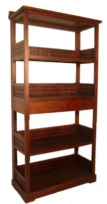 Dark Bamboo and Teak Shelf 1068-