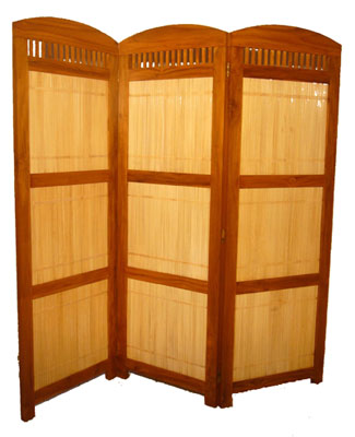 Bamboo and Teak Folding Screen 1069-