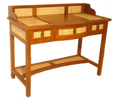Bamboo and Teak Hutch Desk 1070-