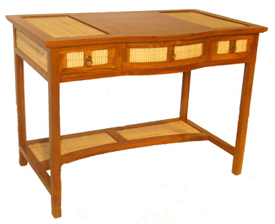Bamboo and Teak Three Drawer Desk 1073-
