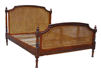 Mahogany and Cane Bed 1074-