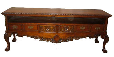 Carved Mahogany Entertainment Center 1088-