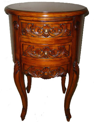 Carved Mahogany Round Side Table 1101-
