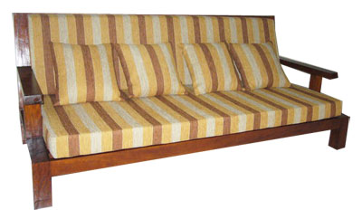 Striped Teak Sofa - 1128-
