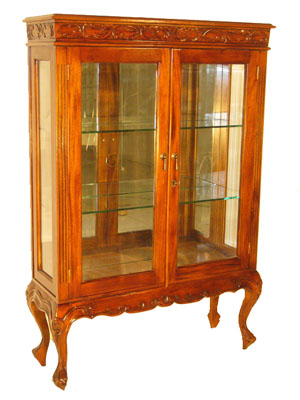Carved Mahogany Mirrored Cabinet - 1143-