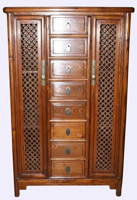 Carved Asian Cabinet with Drawers - 1149-