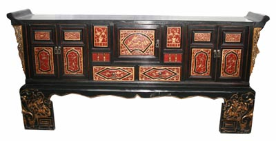 Antique Lacquered Chinese Cabinet - 1168-