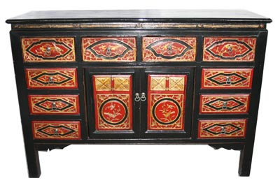 Red And Black Chinese Cabinet - 1175-